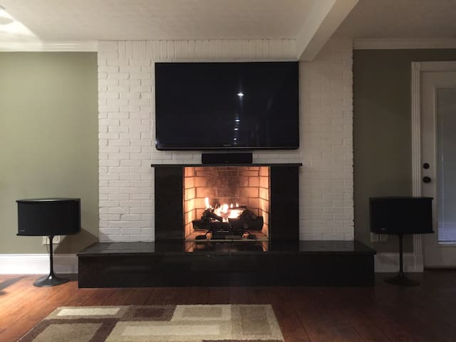 Gas Fireplace with 5.1 surround sound.