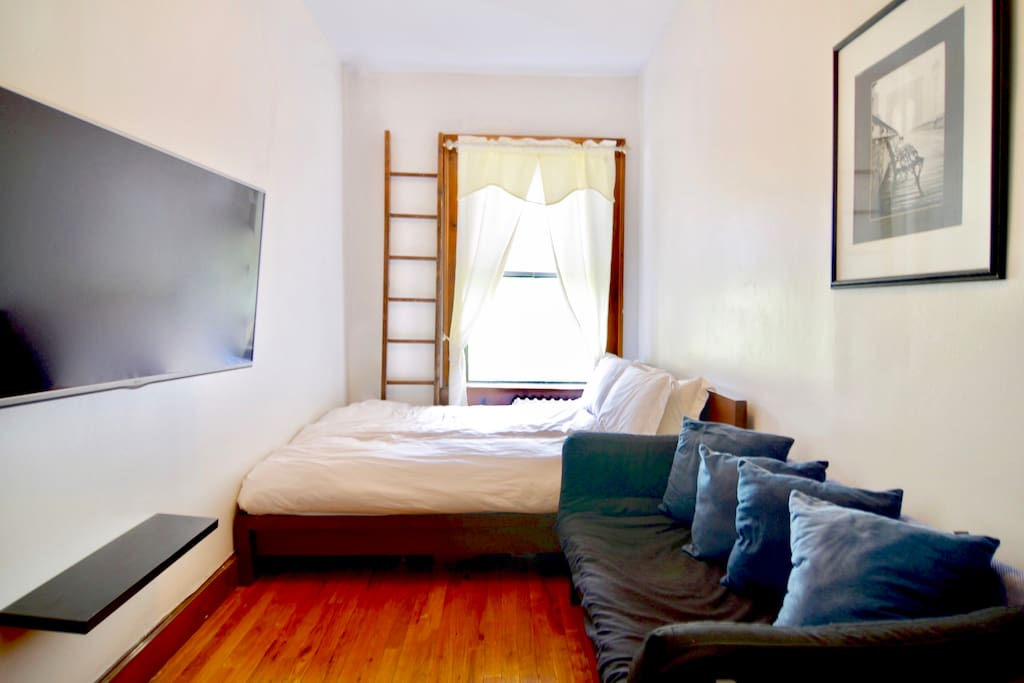 Your sun-soaked bedroom has a queen-size hotel-quality mattress, a couch that folds down into a twin bed, and a Chromecast enabled tv where you can stream anything directly from your phone. There is also plenty of storage in the room available for your use.