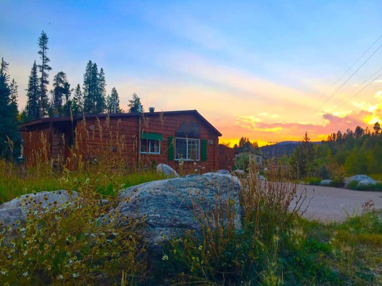 Sunset at this cozy cabin