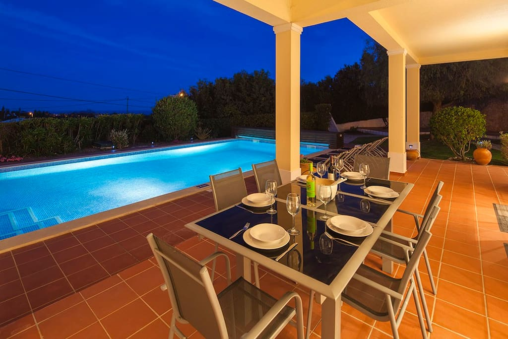 Terrace and pool night time
