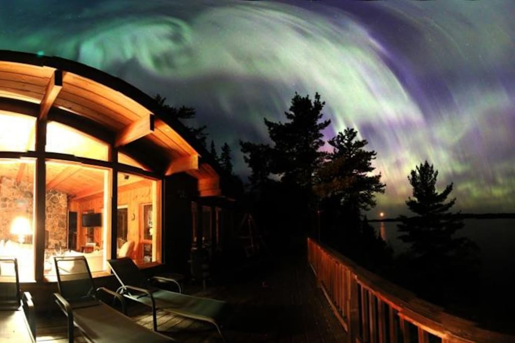 Northern Lights Panorama at End of the Road Cabin
