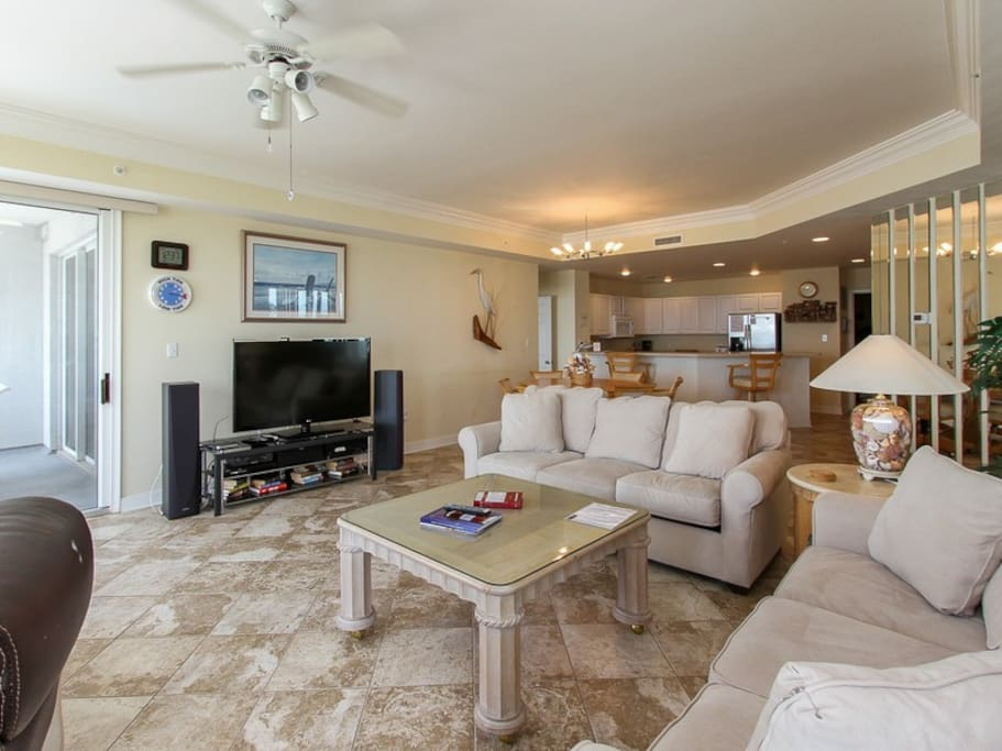 Living Room with Balcony Access at 3403 Sea Crest