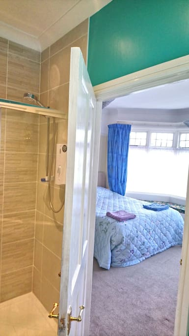 View of bedroom from your private bathroom.