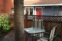 The deck is a nice place to relax outside, read a book, and enjoy a glass of wine.