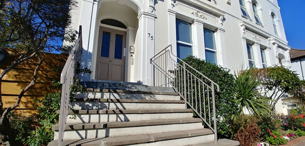 This is the entrance to our building.  It is a very grand old Victorian mansion that we have restored and modernised.