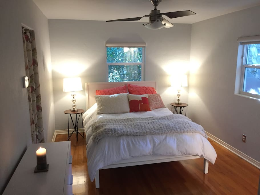 Bedroom- Comfy, queen size bed. Adjoining private bathroom.