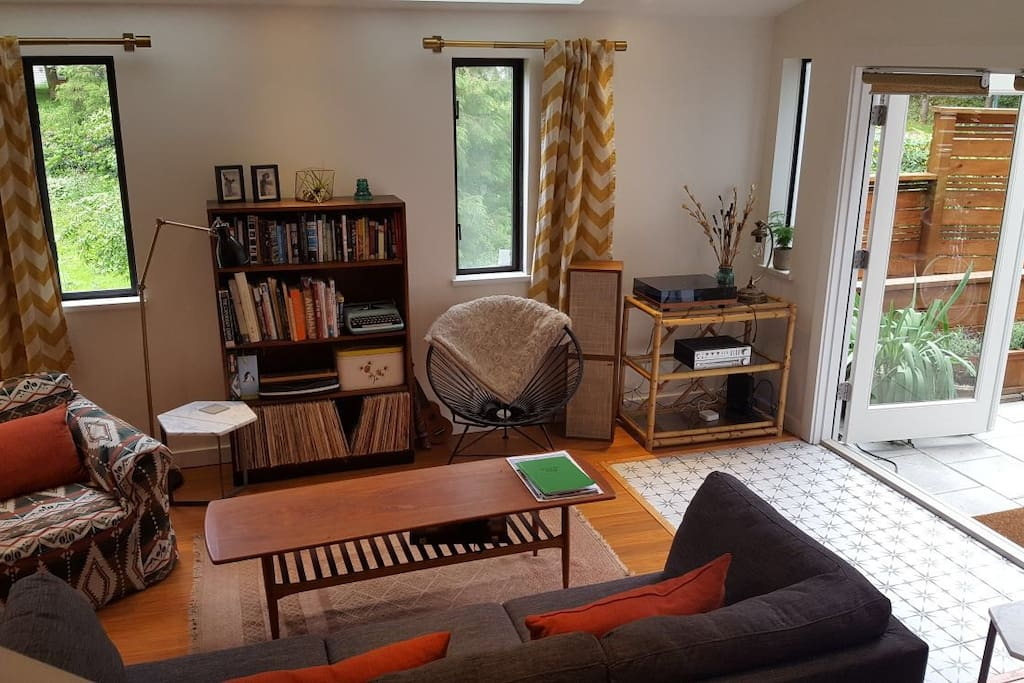 Spacious, bright living room with french doors to the patio for indoor / outdoor living.
