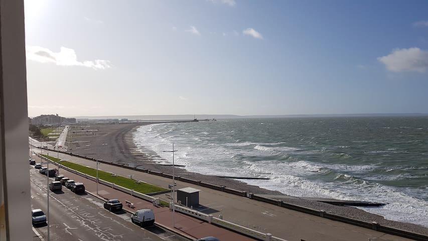 Chambre d'Hôtes, Le Havre plage, pleine vue mer