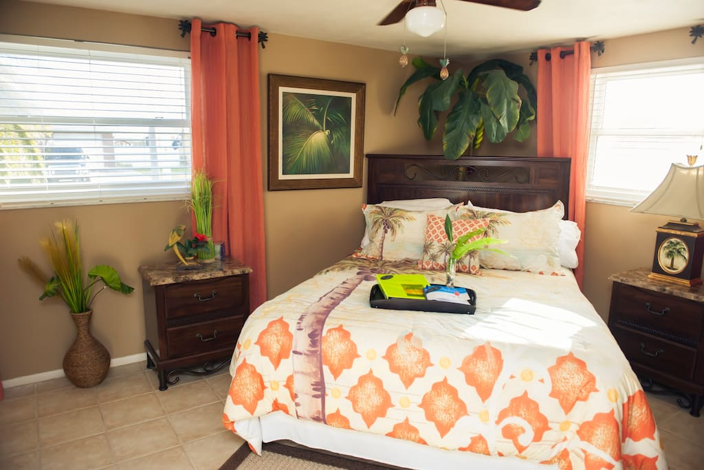 Relax in this private tropical inspired room with walk-in closet and all the amenities, mini frig, microwave, coffee pot and  complementary beverage and snacks.