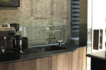 Contemporary kitchenette with high end fixtures