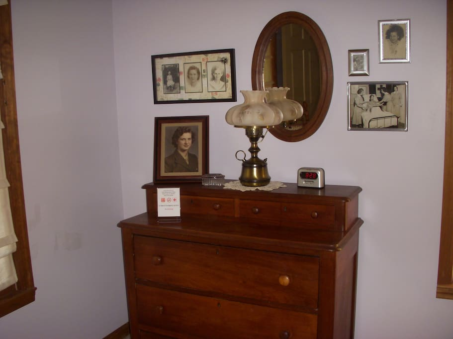Honoring the Innkeeper's mother, the framed photos feature this WWII veteran adding a touch of history to the room's decor.