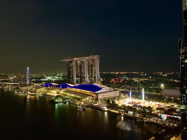 Colourful Night View of Marina Bay