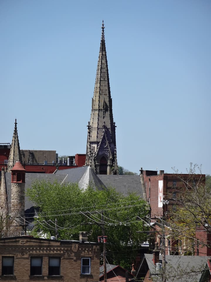 Steeples of Calvary Church from the roof deck