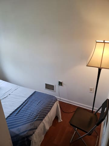 Foot of twin bed