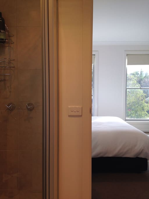 En suite adjoining bedroom. Well lit, and facing a quiet street.