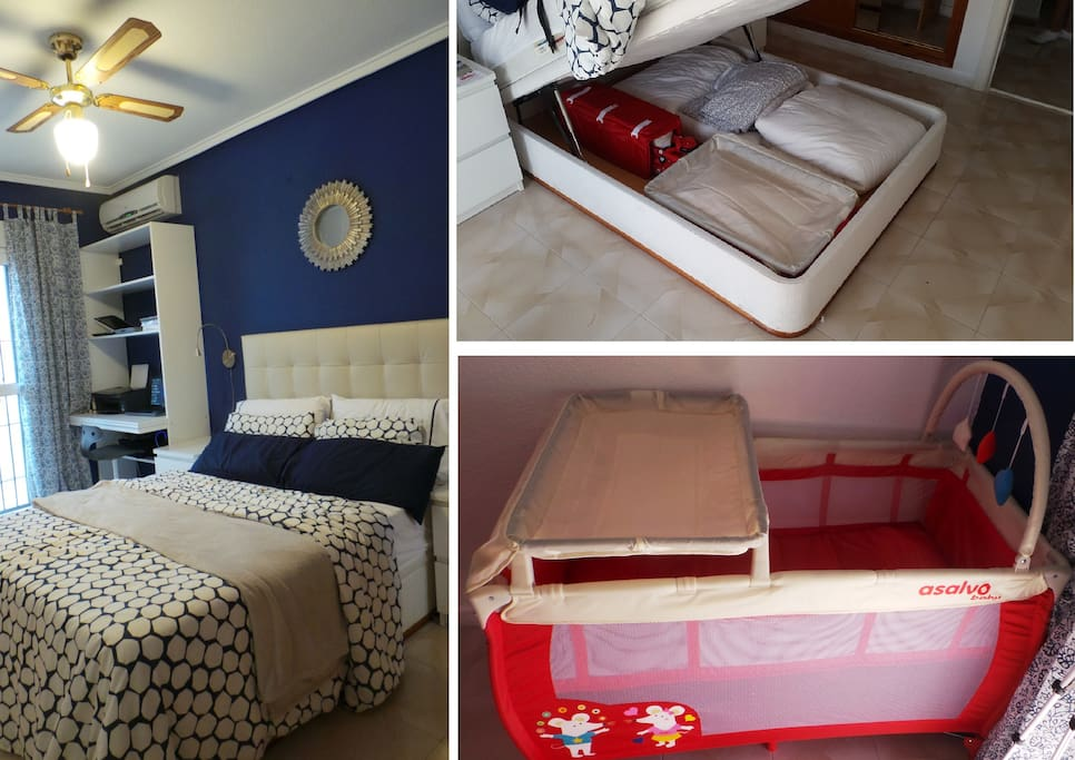 The bedroom is provided with fan and air con. Storage inside the bed with baby bed/blankets/covers