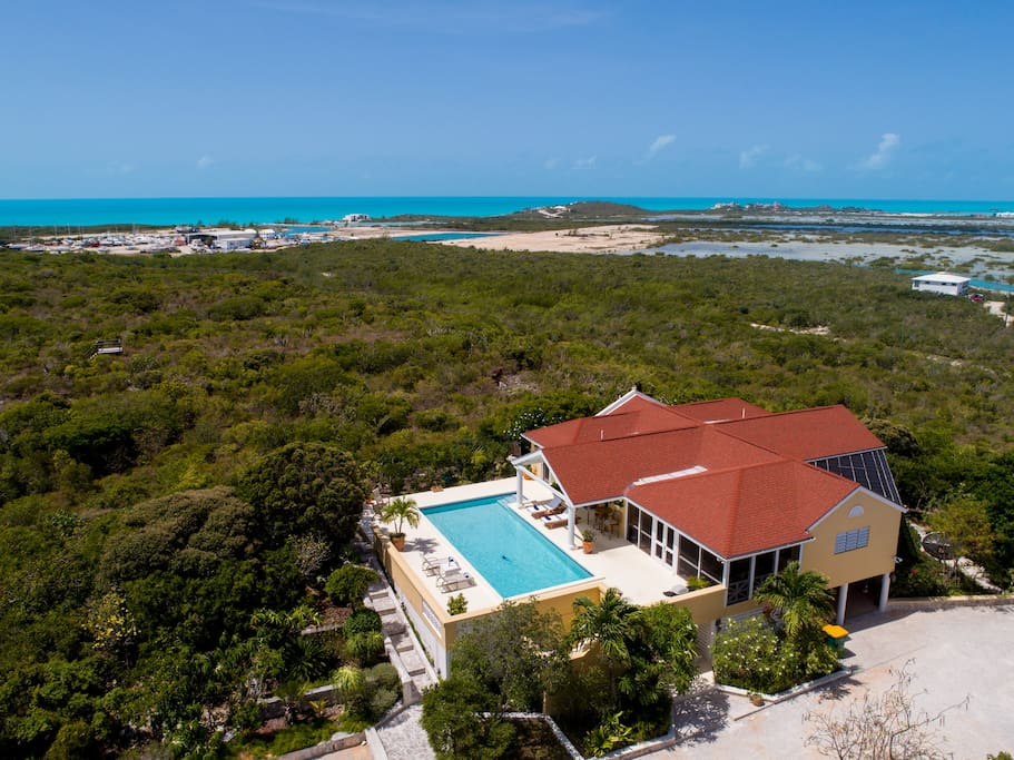 Main level of villa is up one flight creating privacy and great views and breezes.