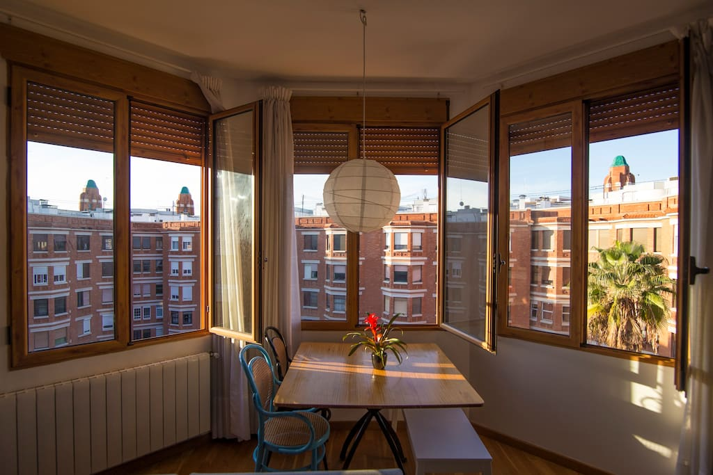 The natural sunlight spreads into the room from every point of the space!