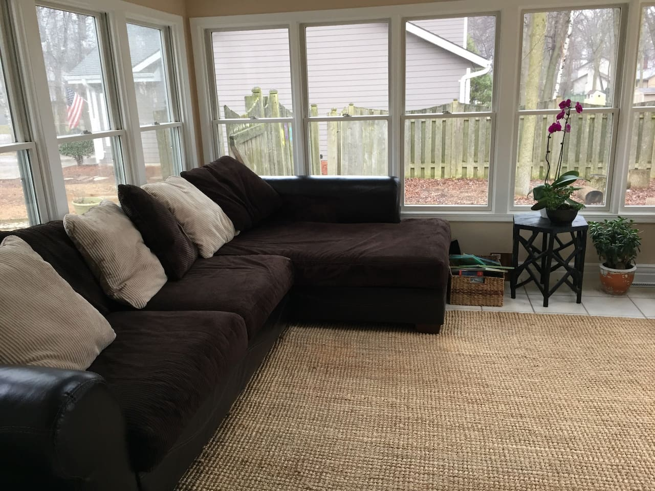 Big comfy couch in sunroom... GREAT place to nap!
