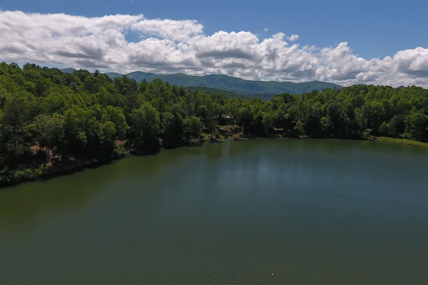 View of Lake Buckhorn and mountains.