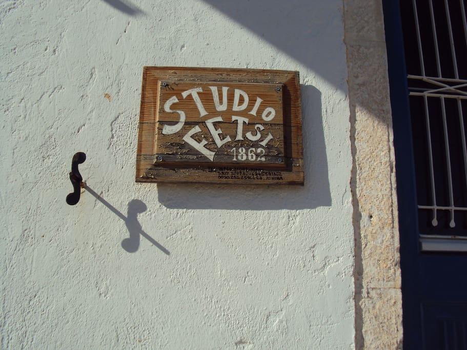 The Studio Fetsi logo at the studio's door at the ground floor.