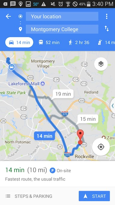 Driving Direction to Montgomery College Rockville Campus