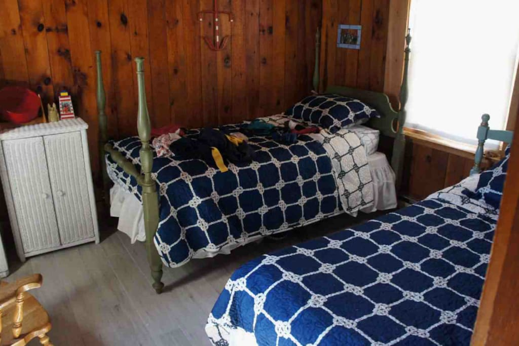 Downstairs bedroom with two twin beds and closet