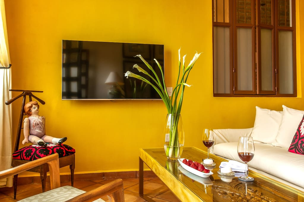 ELOISA. Living area with 55 inch Samsung LED Smart television. Netflix and Live and On-Demand channels available.