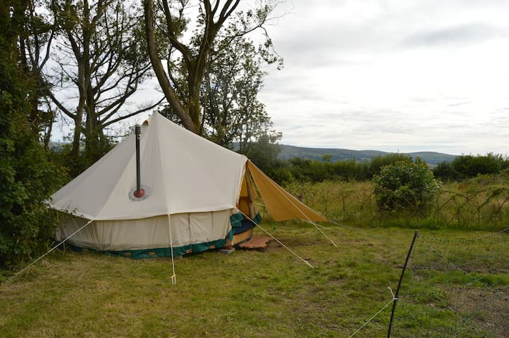Cosy family bell tent with an incredible view