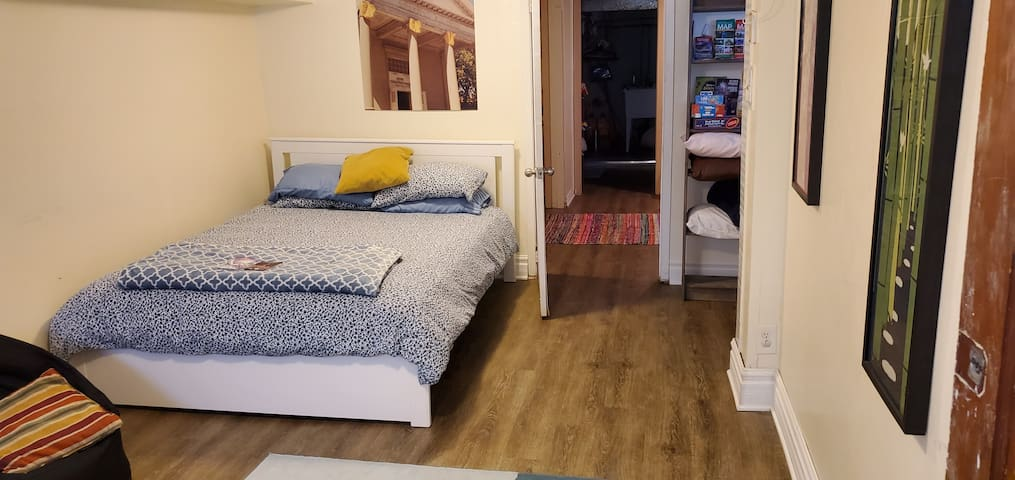 Roomy, newly renovated basement space with 2 rooms