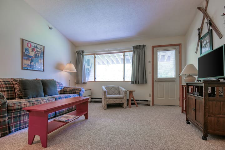 Mountainside condo w/ ski-in/ski-out access, shared heated pool, & more!