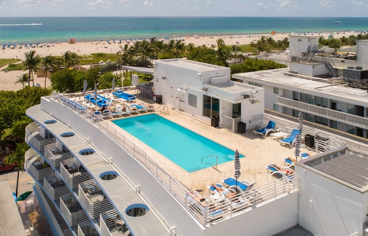 ☀️Ocean dr| Balcony| Rooftop pool w/ bar&cabanas☀️