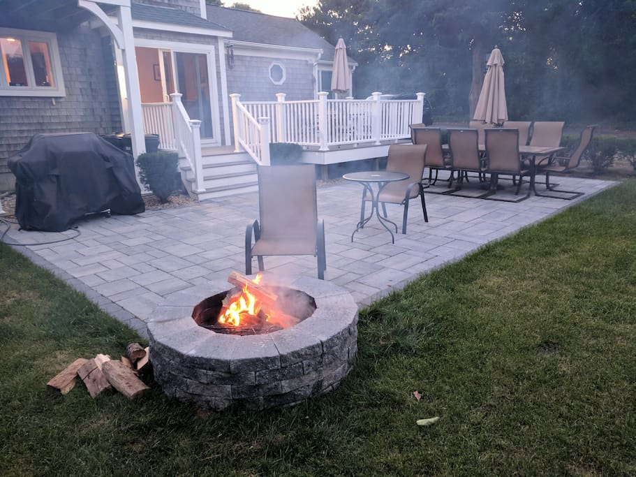 New huge patio with fire pit