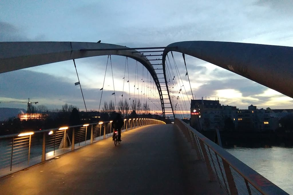 2 km from this bridge which unites Germany and France