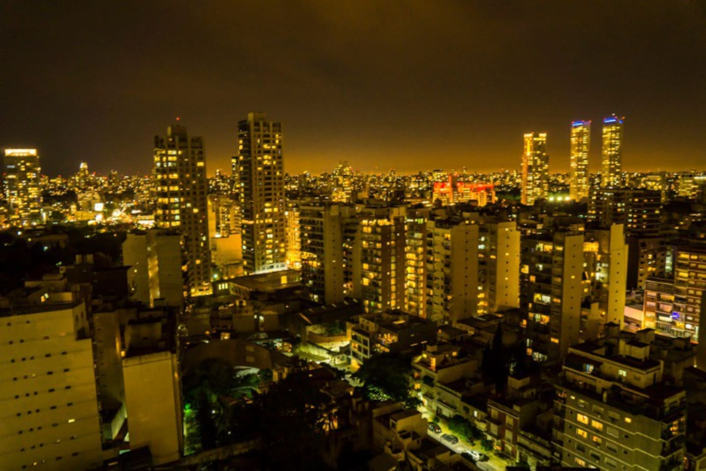 Night skyline from your private terrace in the 21th floor