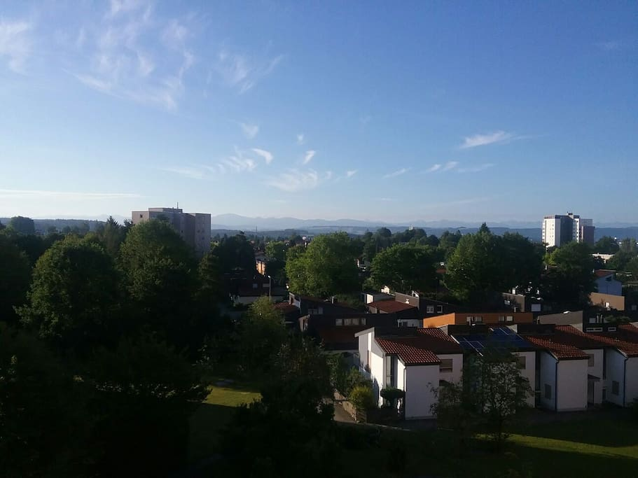 View from the balkony to the Alps (August)