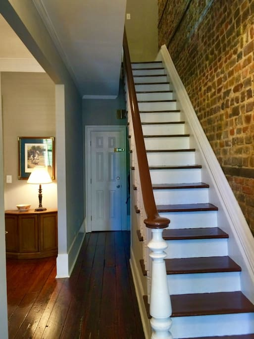 The foyer and stairs from the front door