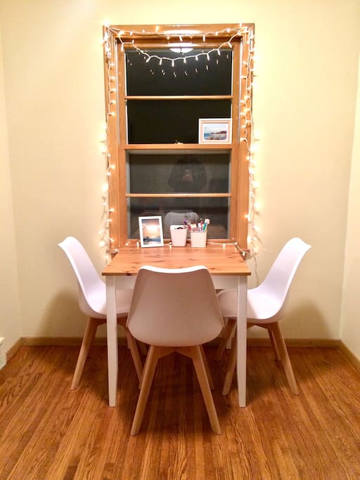 Dining table with extra chair available.