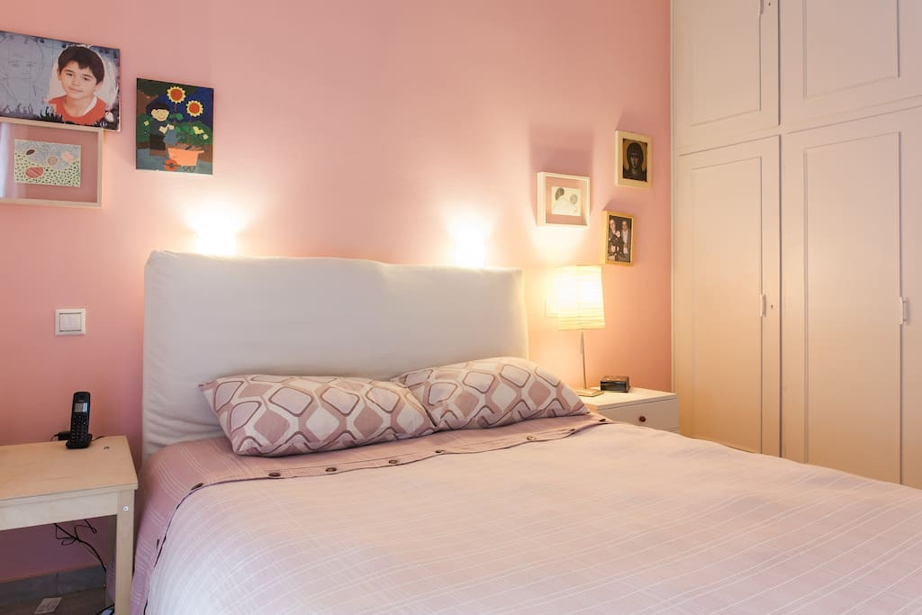 The main bedroom with a comfortable double bed and free closet