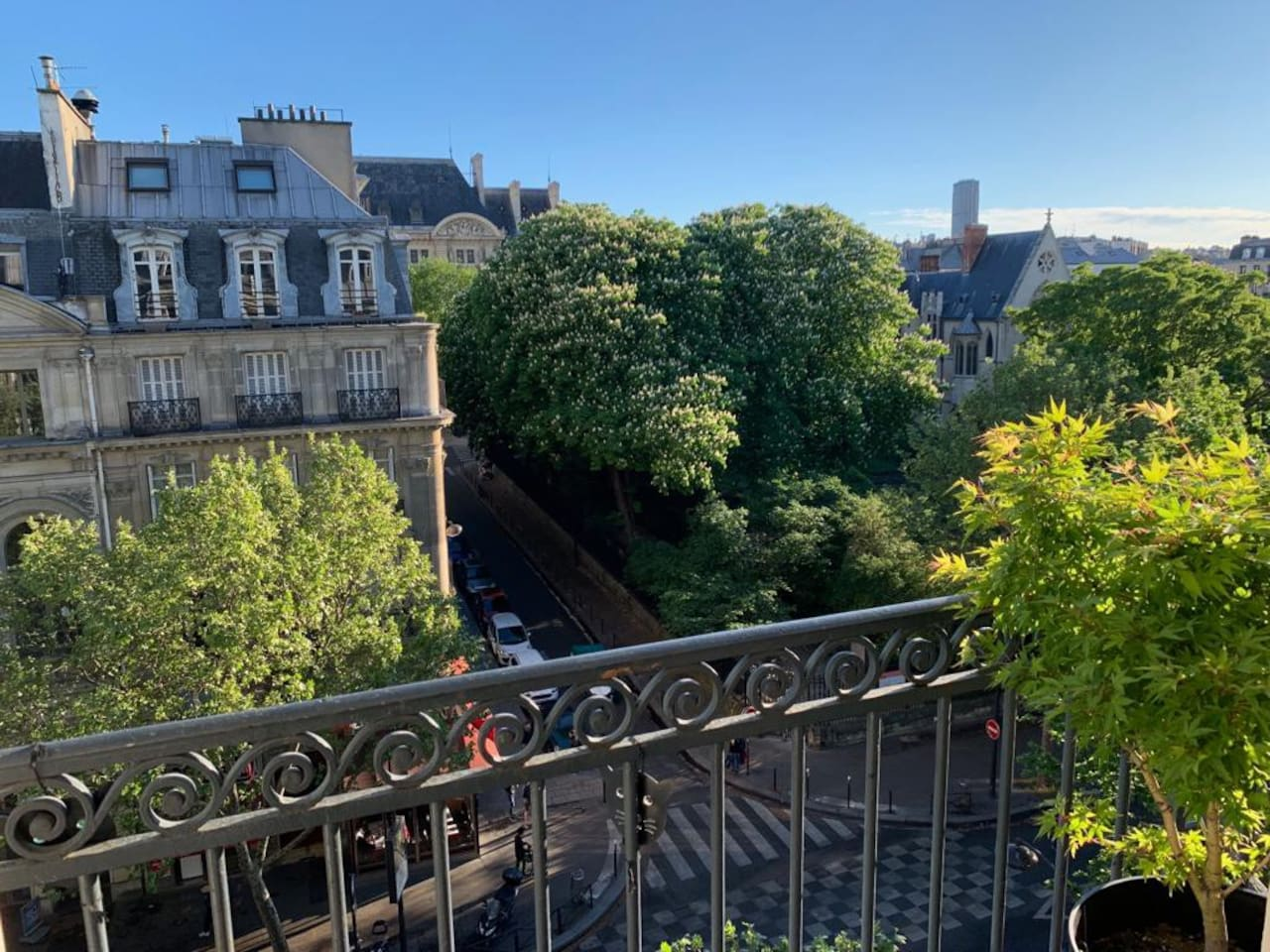 View from the balcony with Cluny church, La Sorbonne and Tour Montparnasse
