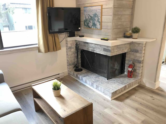 Freshly updated, open concept suite with fireplace