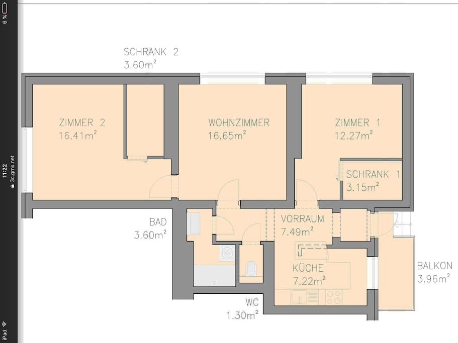 Wohnungsgrundriss: 2 Schlafzimmer inkl. Schrankraum, Wohnzimmer und Küche  extra im offenem Vorraum nach dem Windfang integriert, Bad/WC getrennt!