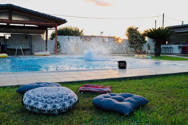 Escape to Kipos: Private Pool Villa near Mesologgi