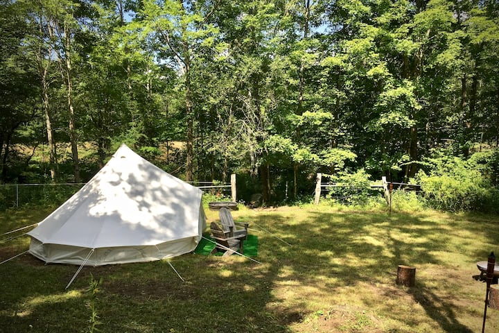 Tranquil Brookside Bell Tent on Picturesque Farm