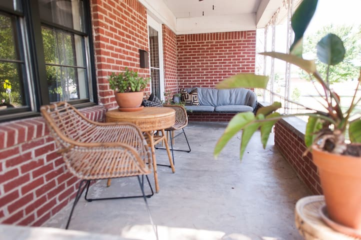 Spacious front porch with lots of seating!