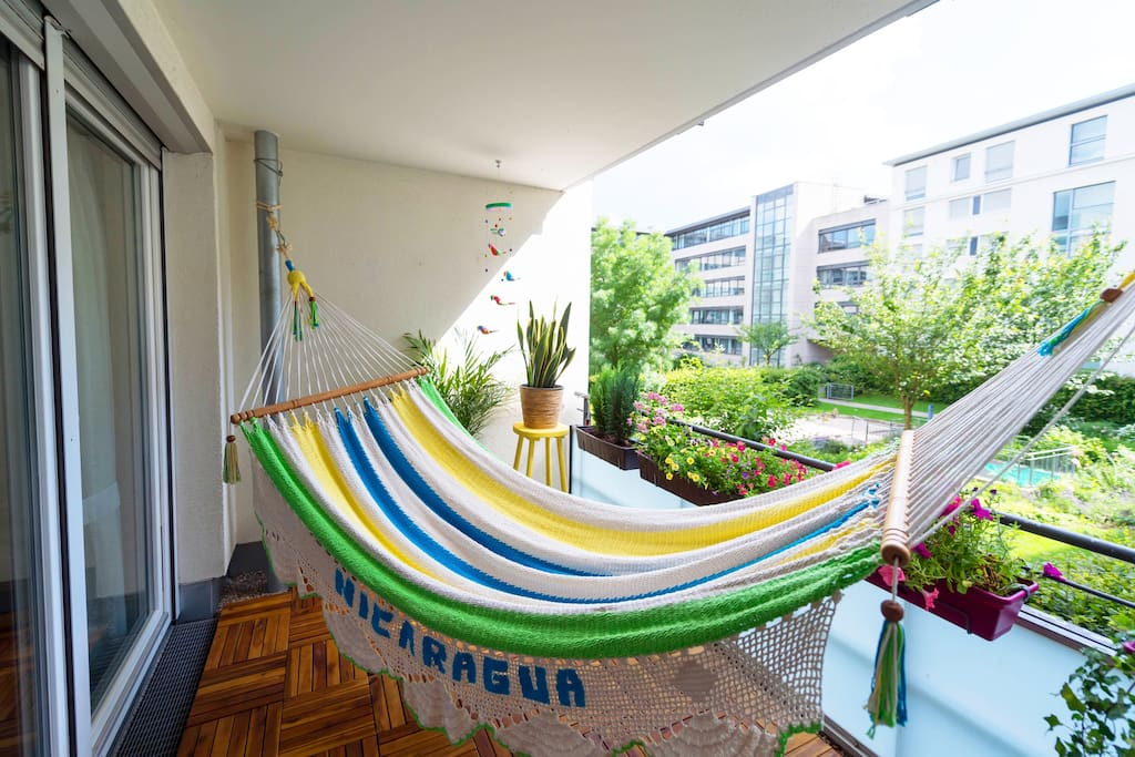 Relax in the hammock and enjoy the view of the green inner yard