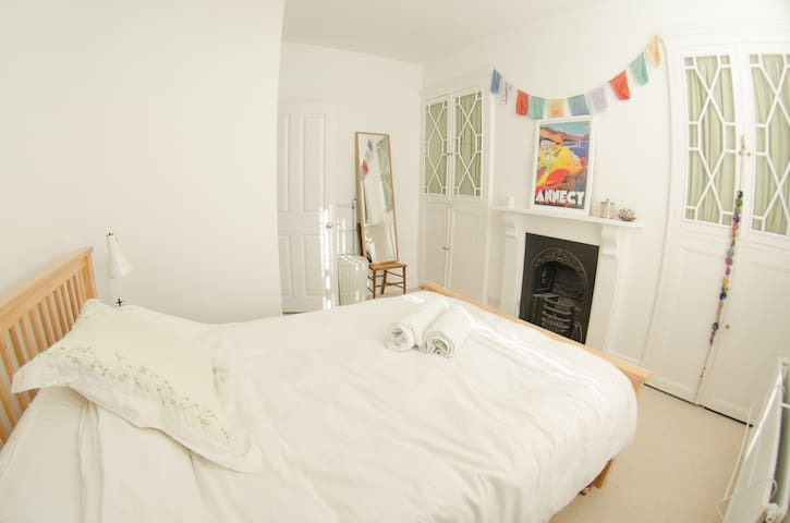 Our quiet double bedroom is at the rear of our property.  We will leave cupboard space for your stay and of course towels and fresh bedding.