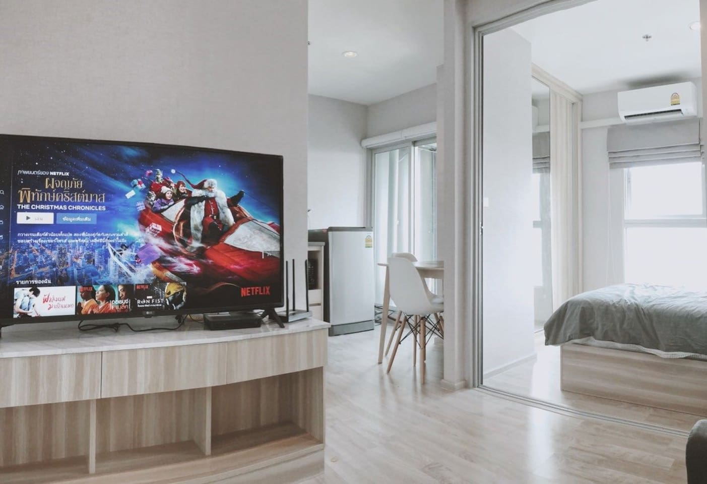 """living room with 49 """" smart tv"""