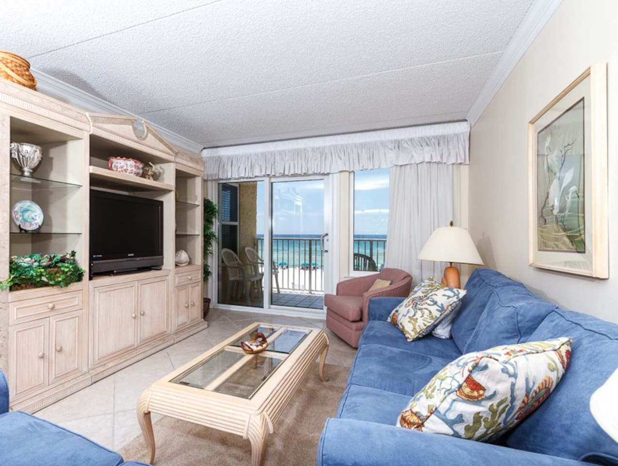 New flat screen TV and a great beachfront view - both for your viewing pleasure! Also new sofa and love seat in the living room added in June 2014! Sofa is a queen size sleeper.