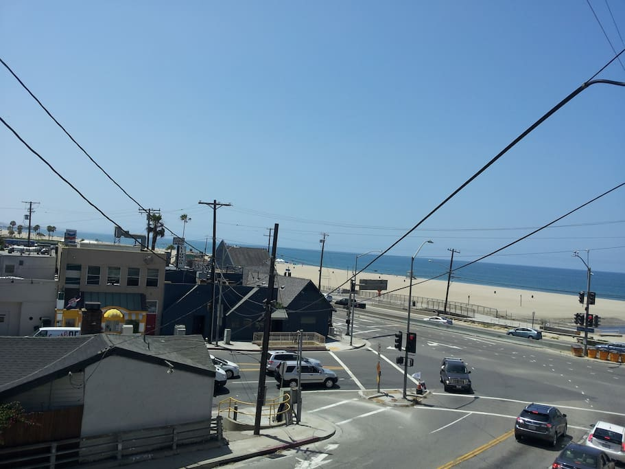 Looking out from the window onto PCH/West Channel intersecion